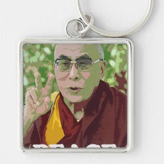 Dalai Lama Buddha Buddhist Buddhism Meditation Yog Silver-Colored Square Keychain