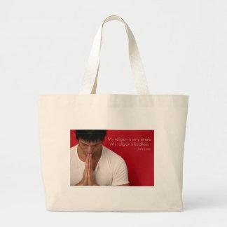 """Dalai Lama """"mi religión es cita de la amabilidad"""" Bolsa Tela Grande"""
