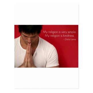 """Dalai Lama """"mi religión es cita de la amabilidad"""" Tarjeta Postal"""