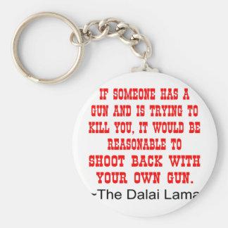 Dalai Lama Shoot Back With Your Own Gun Basic Round Button Keychain