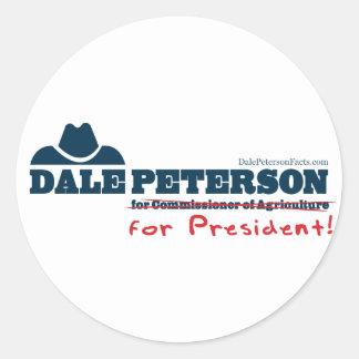 Dale Peterson para el presidente Pegatina Redonda