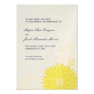 """Dalia amarilla en gris invitación 5"""" x 7"""""""