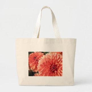 Dalia anaranjada coralina bolsa tela grande