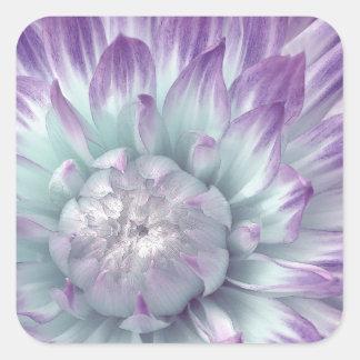Dalia azul y púrpura - sello del sobre del boda pegatina cuadrada