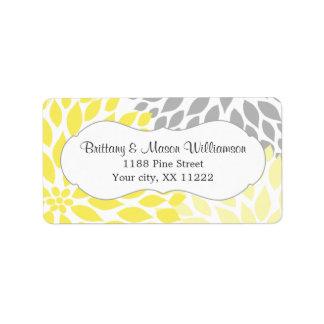 Dalia gris amarilla que casa personalizado nupcial etiquetas de dirección