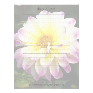 Dalia púrpura, amarilla y blanca membrete a diseño