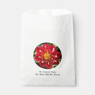 Dalia roja con pares de la abeja - bolso blanco bolsa de papel