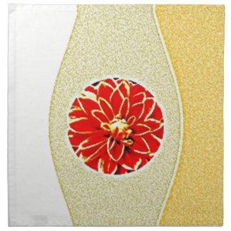 Dalia roja de Artisctic en fondo beige Servilletas Imprimidas
