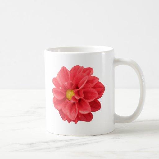 Dalia roja taza básica blanca