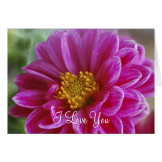 Dalia rosada del corazón tarjeta de felicitación