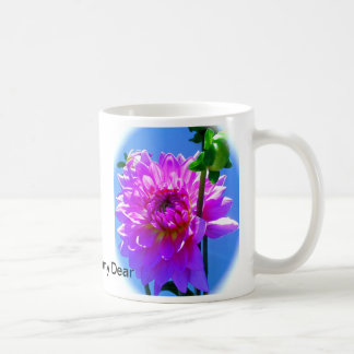 dalia rosada, mamá dulce estimada taza de café