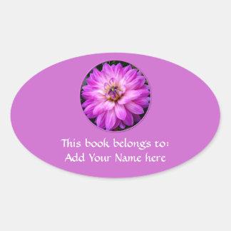 Dalia violeta/púrpura pegatina ovalada