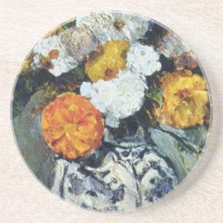 Dalias anaranjadas en un florero de Delft, Paul Ce Posavasos Manualidades