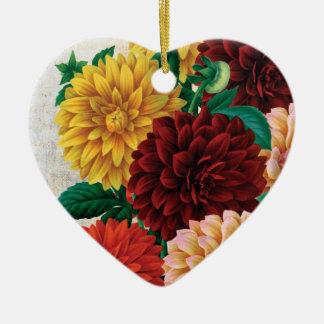 Dalias del vintage adorno navideño de cerámica en forma de corazón