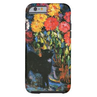 Dalias y gato negro, pintura de la bella arte funda para iPhone 6 tough