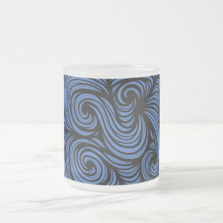 Dallam Abstract Expression Blue Black 10 Oz Frosted Glass Coffee Mug