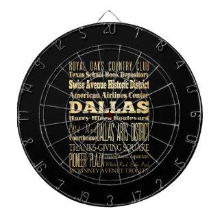 Dallas City of Texas State Typography Art Dartboard