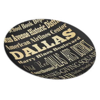Dallas City of Texas State Typography Art Plate