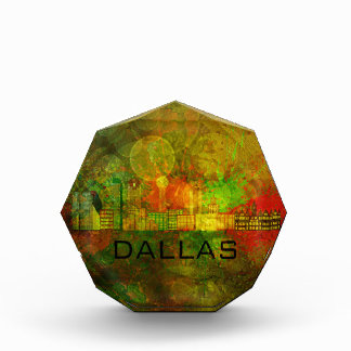 Dallas City Skyline on Grunge Background Illustrat Acrylic Award