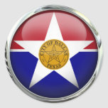 Dallas Flag Glass Ball Round Sticker