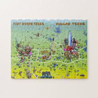 Dallas Fort Worth Cartoon Map Jigsaw Puzzle