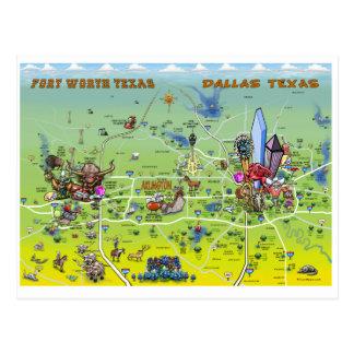 Dallas Fort Worth Cartoon Map Postcard