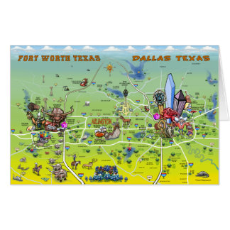 Dallas Fort Worth Texas Cartoon Map Card