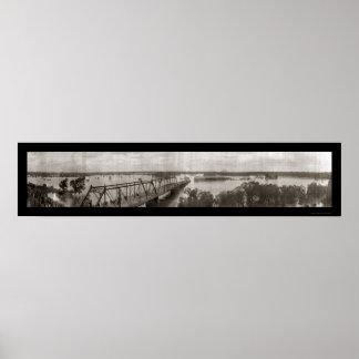 Dallas, foto 1908 de la inundación de TX Póster