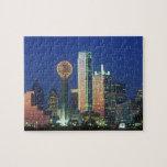'Dallas, horizonte de TX en la noche con la reunió Rompecabeza Con Fotos