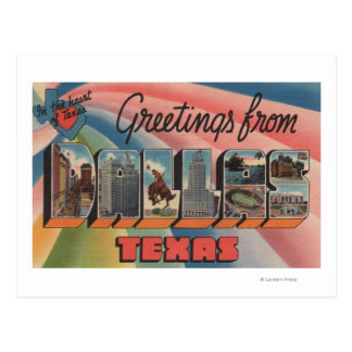 Dallas, letra ScenesDallas, TX de TexasLarge Tarjetas Postales