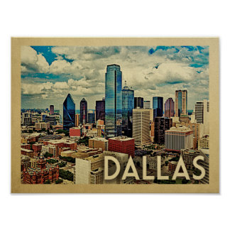 Dallas Poster Vintage Travel Print Texas Skyline
