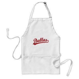 Dallas script logo in red adult apron
