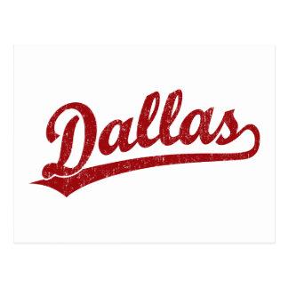 Dallas script logo in red postcard