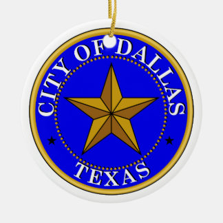 Dallas Seal Double-Sided Ceramic Round Christmas Ornament