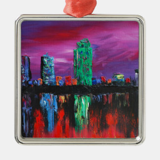Dallas sky line.jpg metal ornament