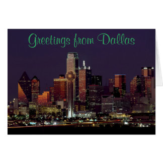 Dallas Skyline at Night Card