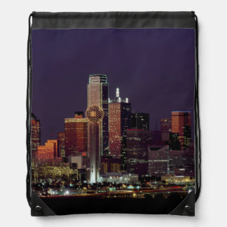 Dallas Skyline at Night Drawstring Backpack