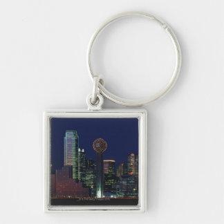 Dallas Skyline at Night Keychain