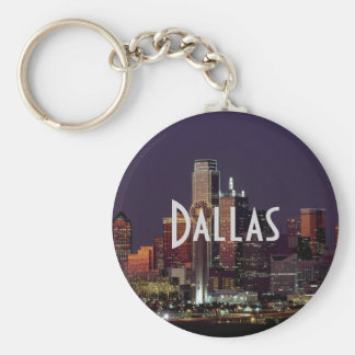 Dallas Skyline at Night Keychain
