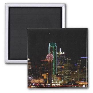Dallas Skyline at Night 2 Inch Square Magnet