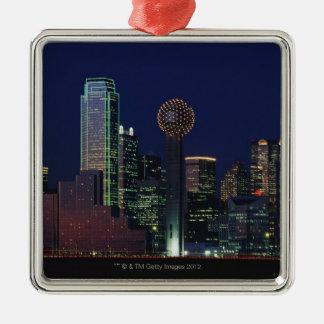 Dallas Skyline at Night Ornaments