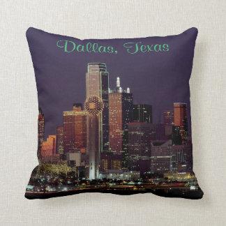 Dallas Skyline at Night Pillow