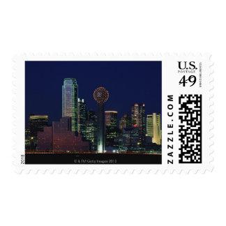 Dallas Skyline at Night Postage Stamp
