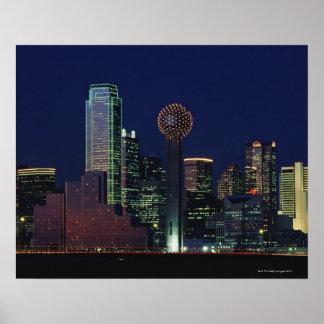 Dallas Skyline at Night Poster