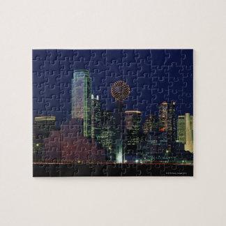 Dallas Skyline at Night Jigsaw Puzzles