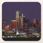 """Dallas Skyline at Night Square Paper Coaster<br><div class=""""desc"""">I lived in Dallas,  Texas for a bit and it has one of my favorite skylines in the world.</div>"""