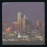 "Dallas Skyline at Night Stone Coaster<br><div class=""desc"">I lived in Dallas,  Texas for a bit and it has one of my favorite skylines in the world.</div>"