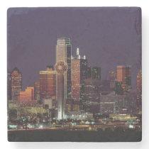 Dallas Skyline at Night Stone Coaster