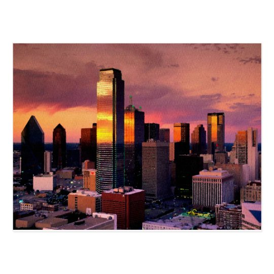 Dallas Skyline at Sunset Postcard