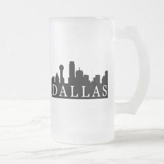 Dallas Skyline Frosted Glass Beer Mug